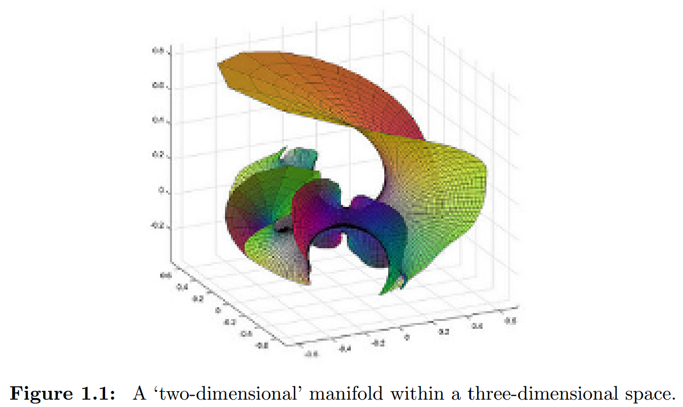 Figure 1.1: A 'two-dimensional' manifold within a three-dimensional space